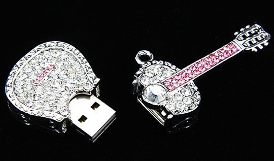 Jewel Guitar Necklace USB Flash Drive