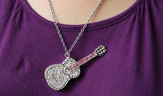 Jewel Guitar Necklace USB Flash Drive