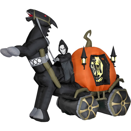 6 Foot Halloween Inflatable Reaper Carriage with Horse