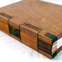 Handmade Mahogany Wood Blank Book Journal