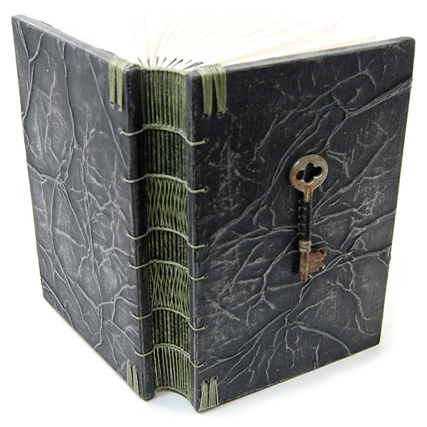Steampunk Antique Skeleton Key Wooden Journal