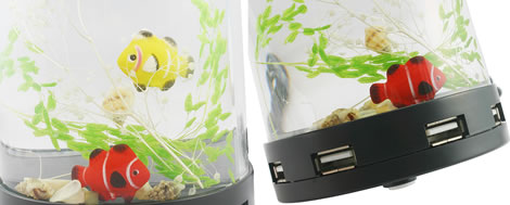 4-Port USB Hub with Aquarium and Pen Holder