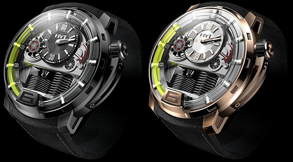 HYT H1 Hydro-Mechanical Watch in Black Titanium and Rose Gold