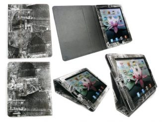 iPad 2 Leather Retro Folio Desktop Stand Case