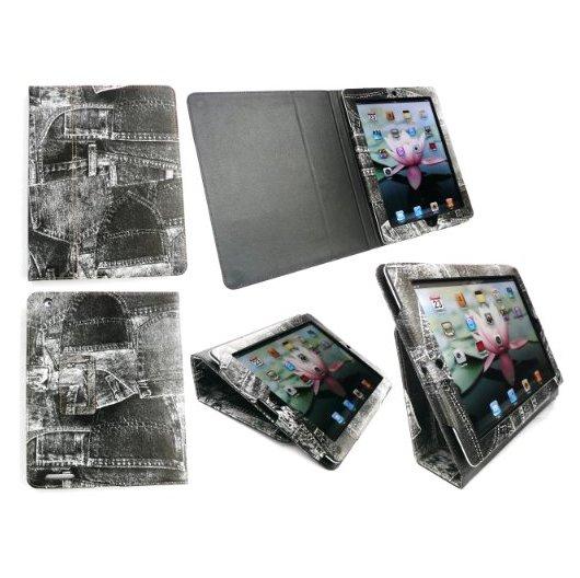 iPad 2 Leather Retro Folio Desktop Stand Case