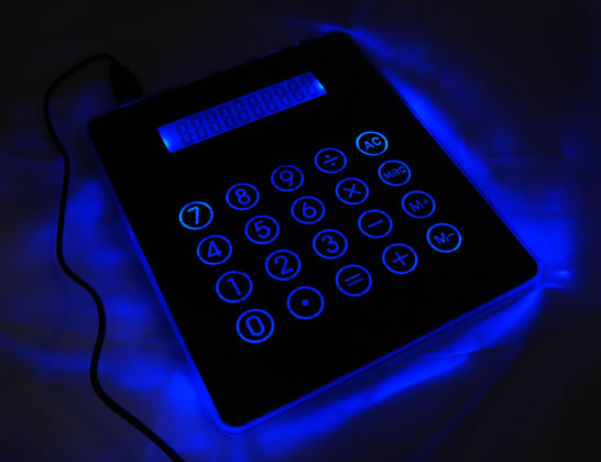 Illuminated Mousepad Calculator with USB Hub