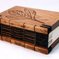 Carved Leaf Wood Book Cover Journal