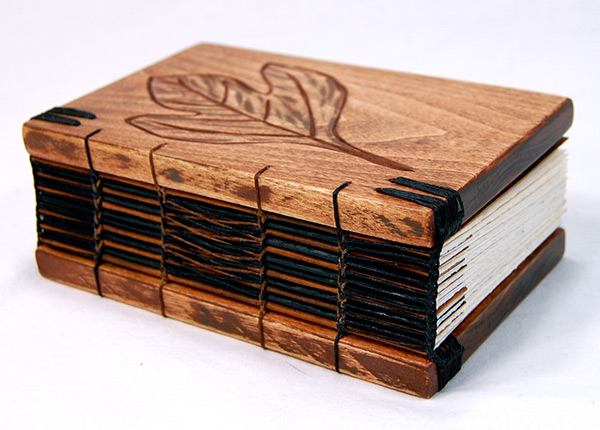 Wood Covered Book ~ Steampunk handmade wooden journal with antique skeleton key