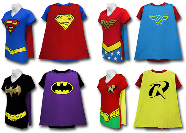 Juniors Superhero Caped Costume T-Shirts