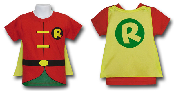 Kids Caped Costume Shirts Superman Batman Robin