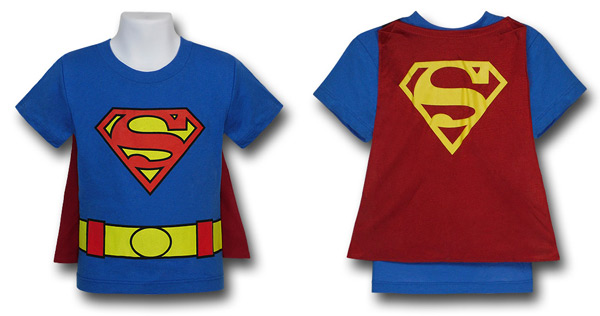 Kids Superman Caped Costume Shirts