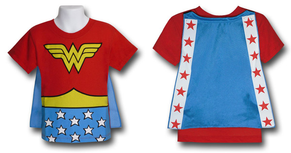 Kids Wonder Woman Caped Costume Shirt