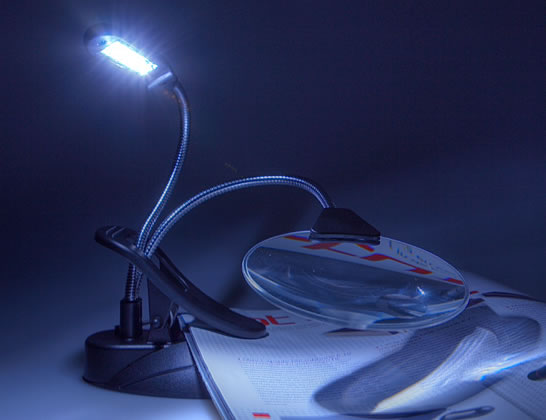 4-LED Desk Lamp with Magnifier