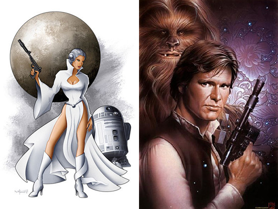 Princess Leia / R2-D2 and Han Solo / Chewbacca Artwork