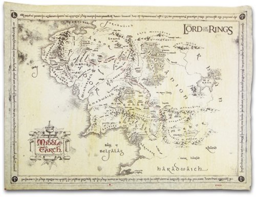 Lord Of The Rings Map Of Middle Earth Vintage Parchment Print