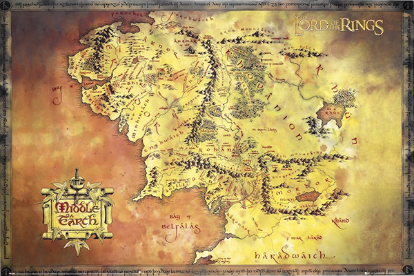 Of the rings map of middle earth poster lord of the rings map of middle earth poster gumiabroncs Gallery