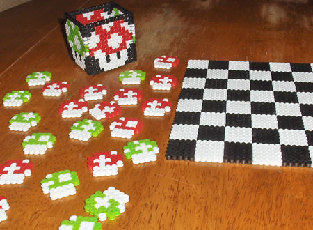 Super Mario Perler Beads Checkers Set