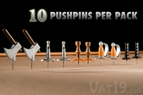 Medieval Weapons Pushpins Set