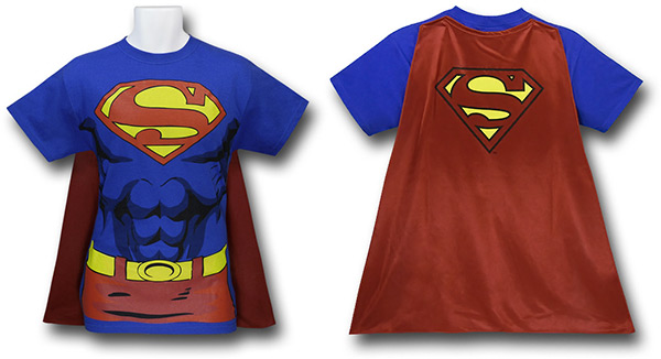 Mens Superman Cape T-Shirt Costume