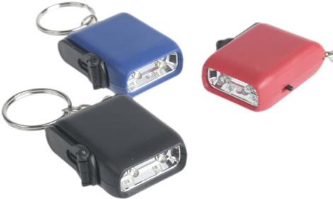Mini Dynamo Keychain 2-LED Flashlight
