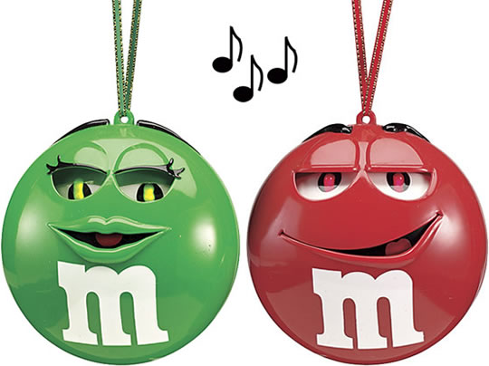 Singing M&M Christmas Ornaments