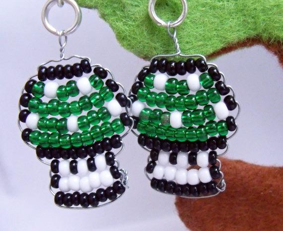 Nintendo Super Mario Beaded Mushroom Sterling Silver Earrings
