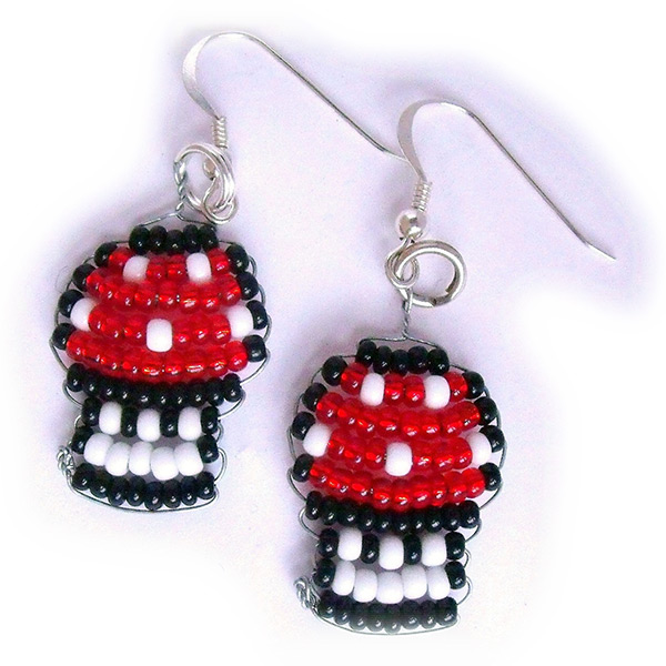 Nintendo Mario Mushroom Bead Silver Earrings