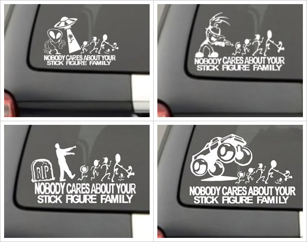 Nobody Cares About Your Stick Figure Family Car Decals