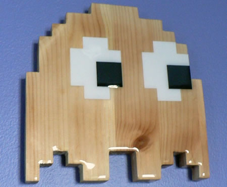 Wooden Pac-Man Ghost