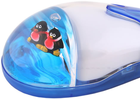 USB Optical Liquid Mouse - Twin Penguin
