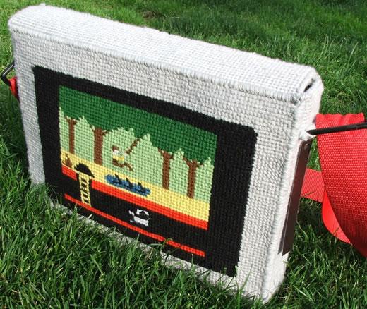 Apple Pitfall Needlepoint Laptop Bag