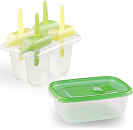 Includes 4 Popsicle Molds and Dessert Storage Container