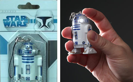 r2-d2 led light keychain inhand
