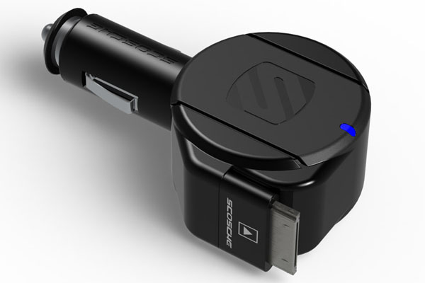 reCOIL II car charger with a retractable 30 pin cable