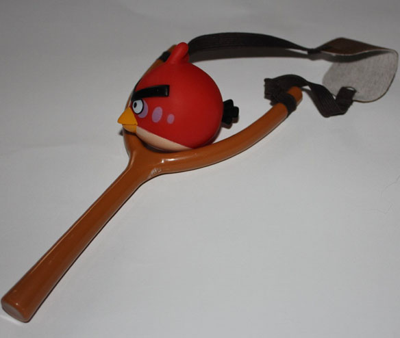 red Angry bird sling shot Launcher