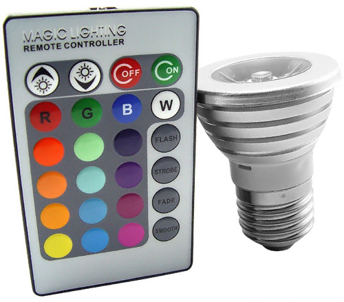 led color changing light bulb with wireless remote geekalerts. Black Bedroom Furniture Sets. Home Design Ideas