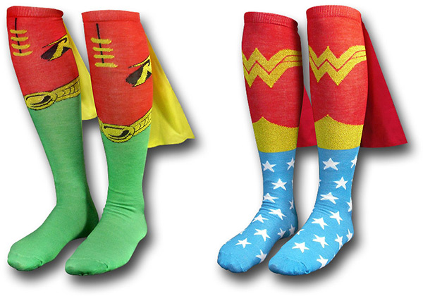 Wonder Woman and Robin Superhero Cape Socks