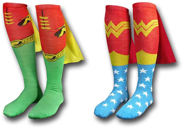 Wonder Woman and Robin Superhero Cape Socks
