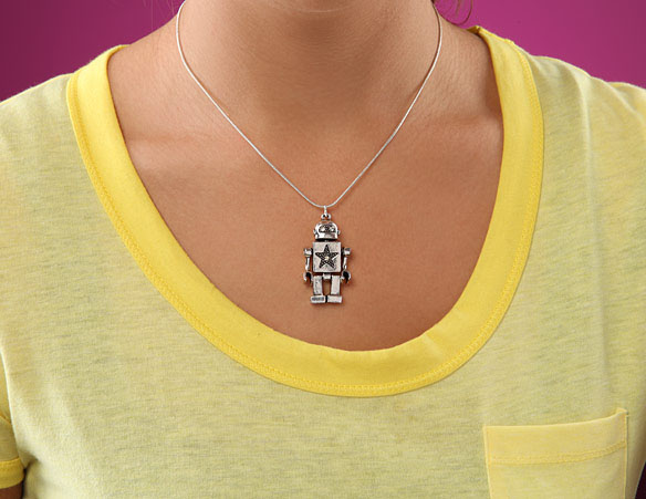 robot silver necklace