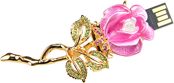 Jewel Rose Pin USB Flash Drive