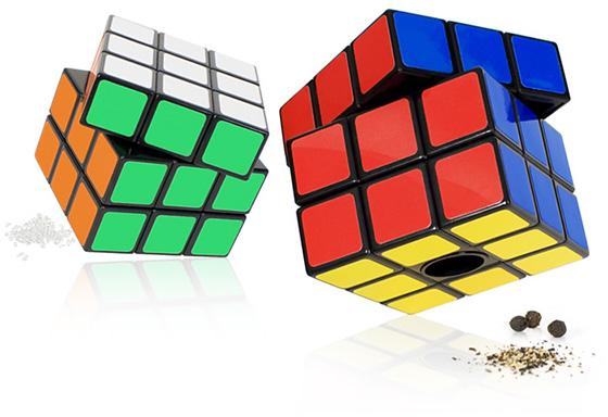 Rubiks Cube Salt and Pepper Mills