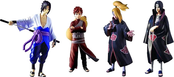 Naruto Shippuden Figures: Sasuke, Itachi, Gaara and Deidara