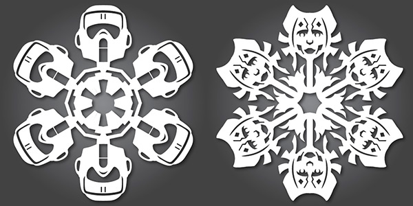 Scout Trooper and Ahsoka Star Wars Snowflakes