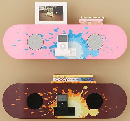 Skateboard iPod Speaker Shelf