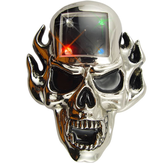 Human Skull MP3 Player Belt Buckle with LEDs