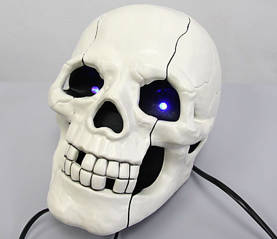 Human Skull Phone with Glowing Eyes