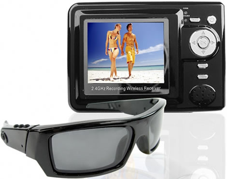 Spy Sunglasses with Wireless LCD Receiver