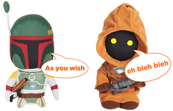 Star Wars Talking 9-Inch Plush Jawa and Boba Fett