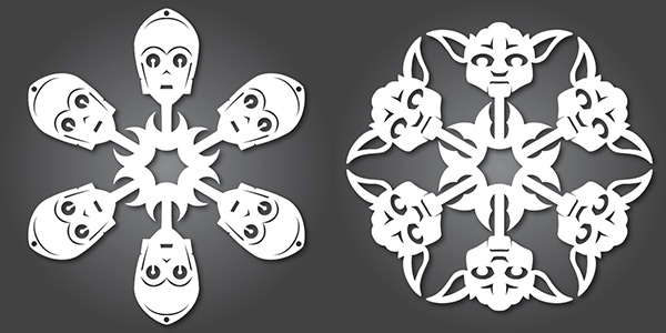 Star Wars C3PO and Yoda Snowflakes