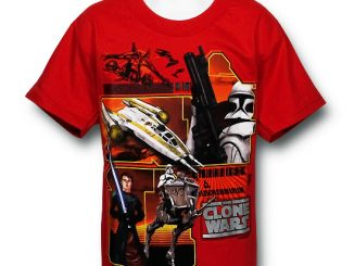 Star Wars Red Clone Wars Red Panels T-Shirt